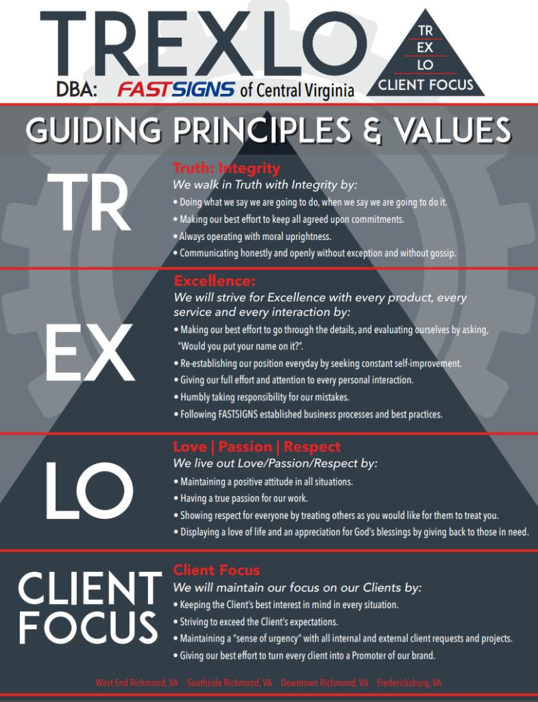 The Trexlo principles and values in Richmond, VA.
